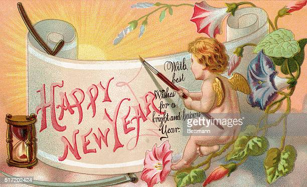 Picture shows a Happy New Year greeting card Undated lithograph