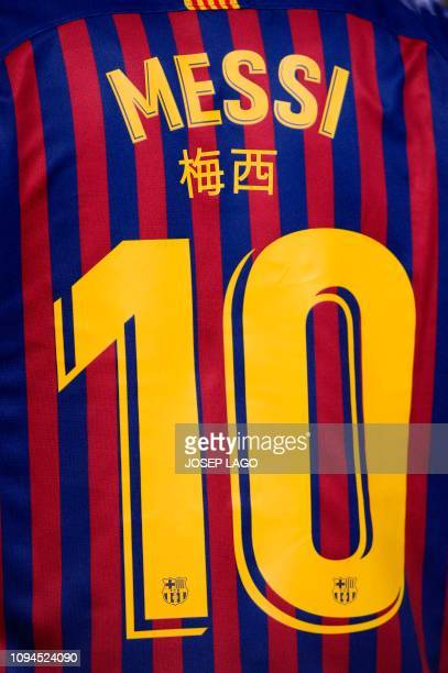 Picture shows a jersey with Barcelona's Argentinian forward Lionel Messi's number 10 before the Spanish Copa del Rey semi-final first leg football...