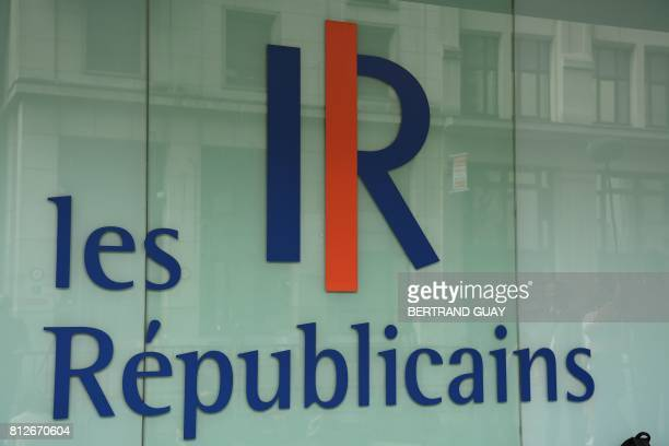 Picture shows a logo of French right-wing Les Republicains party during an LR executive committee meeting on July 11 at the party headquarters in...