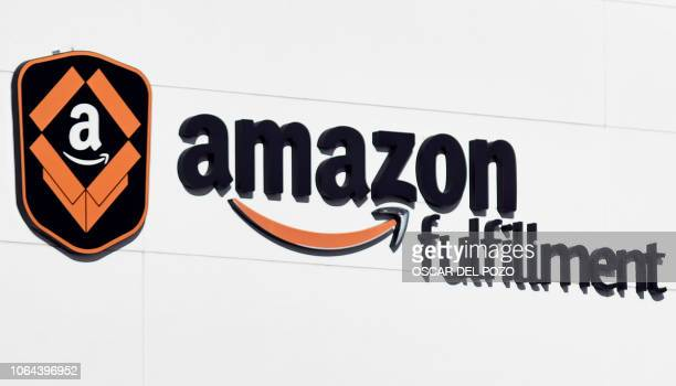 Picture shows a logo of the US electronic commerce and cloud computing company Amazon at its facilities in San Fernando de Henares the biggest in...
