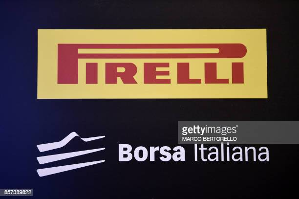 A picture shows a logo Pirelli during a ceremony to mark the comeback of Italian tire maker Pirelli at Milan's stock on October 4 2017 Pirelli an...
