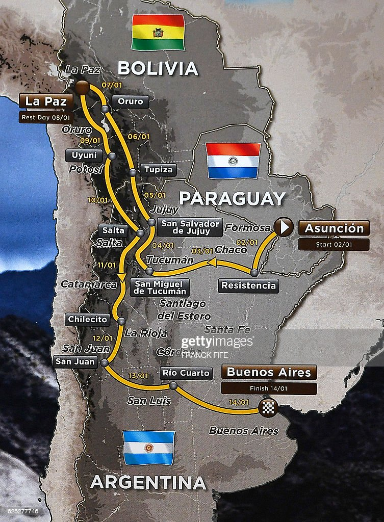A picture shows a map with the route of the 2017 Dakar Rally during