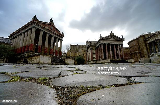 A picture shows a movie set representing the Roman forum built for the BBC/HBO series 'Rome' on February 4 2015 in Cinecitta the famous Italian film...
