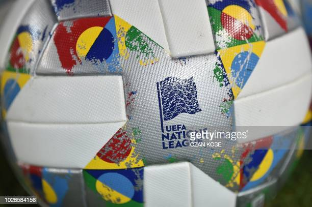 A picture shows a Nations League official ball on the pitch before the UEFA Nations League football match between Turkey and Russia at Senol Gunes...