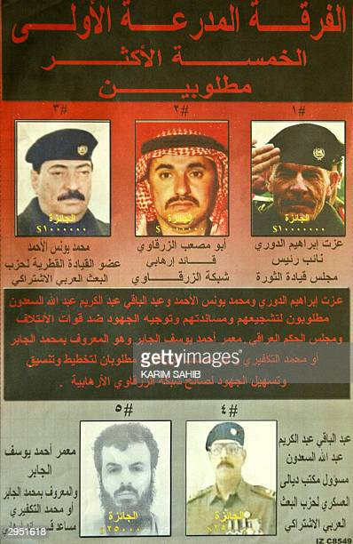 A picture shows a new poster distributed by the US army offering a total of 165 million dollars for the capture of the five most wanted men suspected...
