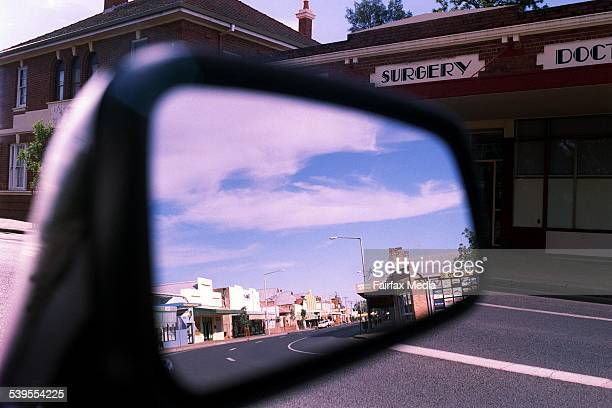 Picture shows a NSW town reflected in a car side mirror 19 December 2002 AFR Picture by TAMARA VONINSKI