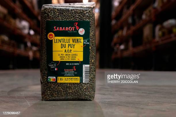 Picture shows a pack of Le Puy green lentils at the Sabarot plant in Chaspuzac, near Le Puy-en-Velay, central France, on October 7, 2020. - Le Puy...