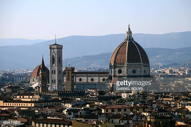 A picture shows a panorama of the city of Florence with the 'Duomo' the cathedral Santa Maria del Fiore on April 8 2015 in Florence AFP PHOTO /...