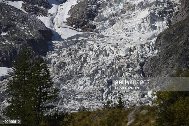A picture shows a part of a glacier on the Monte Rosa on September 26 2015 in Macugnaga AFP PHOTO / OLIVIER MORIN