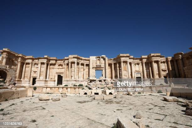 Picture shows a partial view of the damaged amphitheatre, in Syria's Roman-era ancient city of Palmyra on February 7 in the country's central...