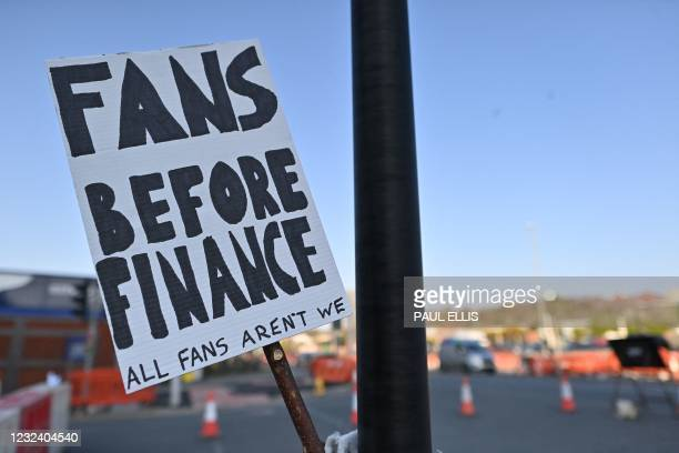 Picture shows a placard with a message against plans for a European Super League outside Elland Road ahead of the English Premier League football...