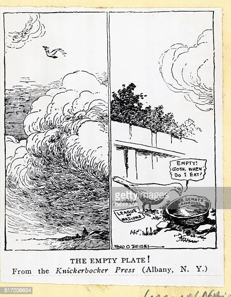 "Picture shows a political cartoon that reads, ""The Empty Plate,"" from the Knickerbocker Press. Undated illustration circa 1920s."