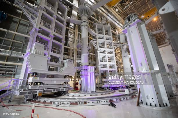 Picture shows a pre-assembly gantry constructed by South Korea which will be used to assemble vacuum chamber sectors with vertical coils to be...