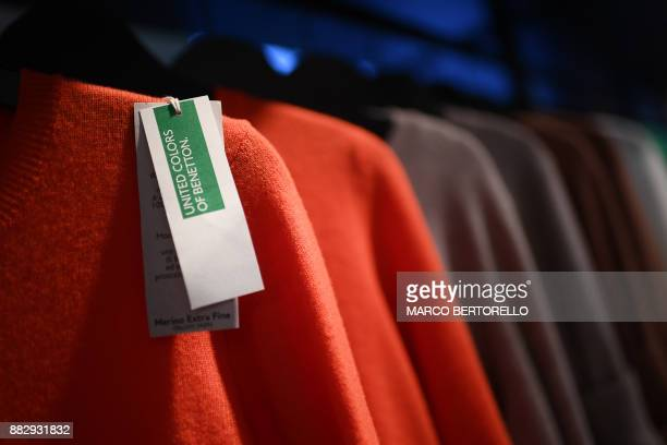 A picture shows a price tag 'United Colors of Benetton' on a clothe on November 30 2017 in a shop of Milan Luciano Benetton one of the founders of...