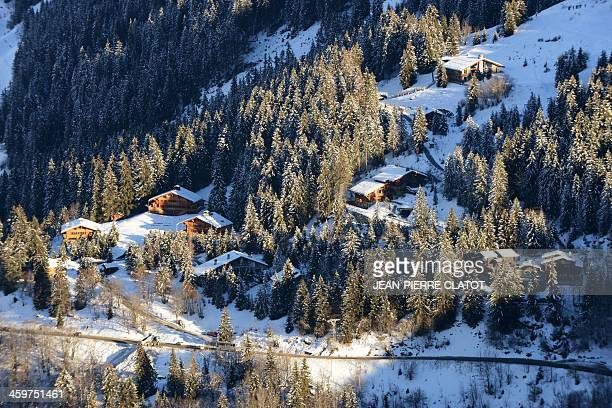 A picture shows a private hamlet in the French ski resort of Meribel French Alps on December 30 where German retired Formula One driver Michael...