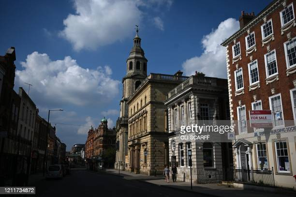 A picture shows a quiet high street in Worcester central England on May 4 as life in Britain continues due to the novel coronavirus pandemic