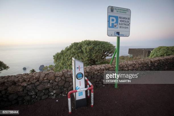 Picture shows a recharging point for electric vehicles at the Gorona windhydropumped station in Valverde on the Spanish Canary island of El Hierro on...