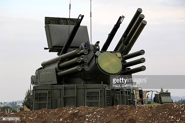 A picture shows a Russian PantsirS1 antiaircraft defence system at the Russian Hmeimim military base in Latakia province in the northwest of Syria on...