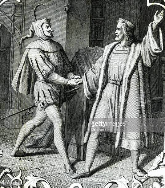Picture shows a scene from Johann Wolfgang Von Goethe's poem Faust a story in which Faust makes a deal with the devil to keep his youth and...