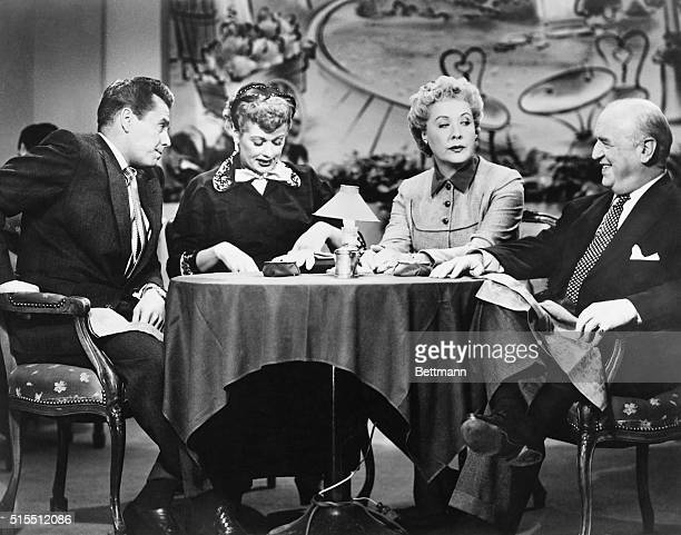 Picture shows a scene from the TV series 'I Love Lucy' starring Desi Arnaz Lucille Ball Vivian Vance and William Frawley Undated photo circa 1950s