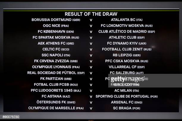 A picture shows a screen displaying the fixtures after the draw for the round of 32 of the UEFA Europa League football tournament at the UEFA...