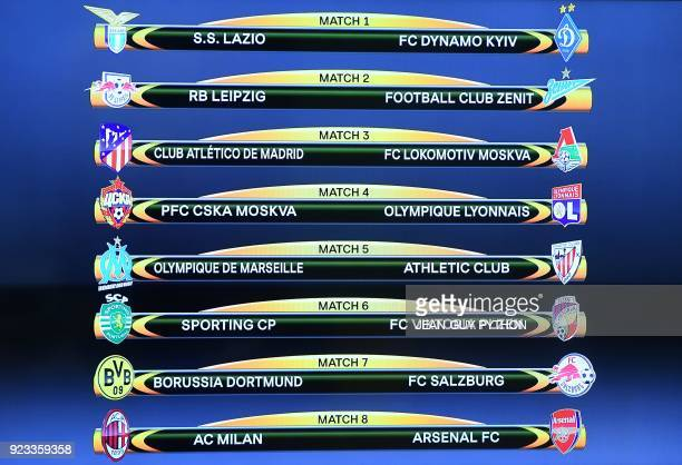 A picture shows a screen displaying the fixtures after the draw for the round of 16 of the UEFA Europa League football tournament at the UEFA...