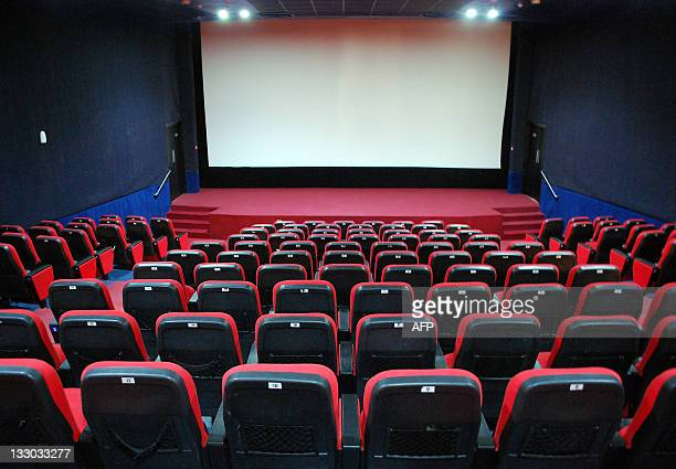 Picture shows a screening hall at the Al-Feel multiplex cinema in the eastern Libyan city of Benghazi on October 7, 2011. The day after the Libyan...
