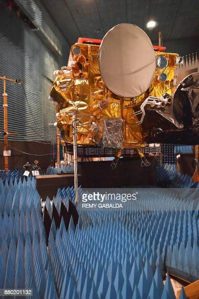 A picture shows a SES14 hybride 4ton satellite equipped with a plasma jet engine an electricallypowered propulsion system at the Airbus headquarters...