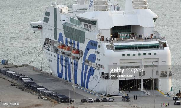 Picture shows a ship moored to the dock of Barcelona's port to house police reinforcements on September 21 2017 The Spanish Interior Ministry has...