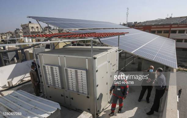 Picture shows a solar-powered water generator that extracts potable water straight from the air donated by Watergen, a company owned by a...