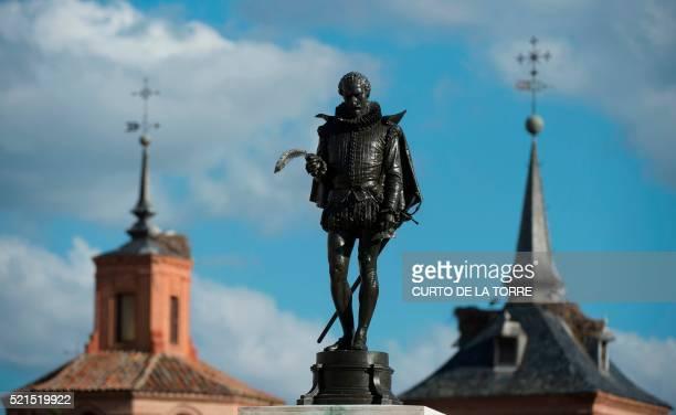 Picture shows a statue of 'Don Quixote' author Spanish writer Miguel de Cervantes Saavedra at the Cervantes square in Alcala de Henares near Madrid...