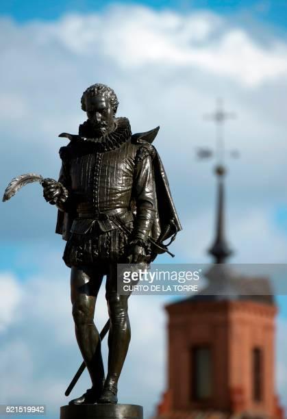 Picture shows a statue of Don Quixote author Spanish writer Miguel de Cervantes Saavedra at the Cervantes square in Alcala de Henares near Madrid on...
