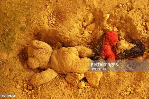 A picture shows a teddy bear buried in the ground of a house in the once rebelheld Bab Kinnisrin neighbourhood in the old part of Aleppo during a...