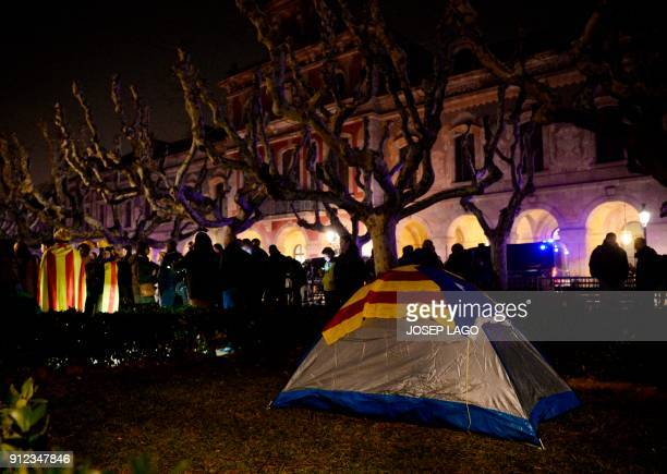 Picture shows a tent covered with a Catalan proindependence 'Estelada' flag set up outside the Catalan parliament at the Ciutadella park on January...