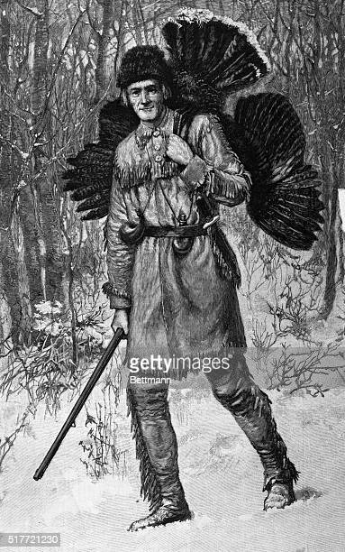Picture shows a Thanksgiving hunter bringing home a turkey Undated engraving