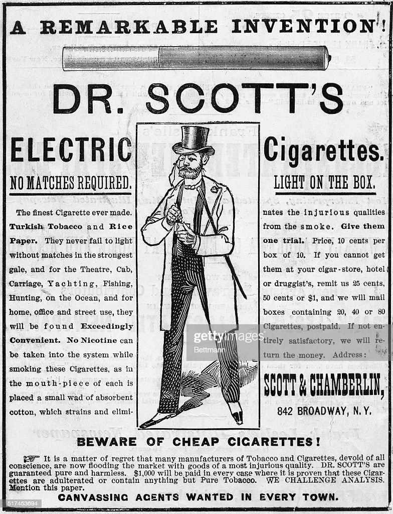 Advertisement For Dr Scott'S Cigarettes : News Photo