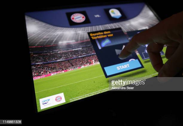 Picture shows a touch screen with an integrated SAP tool at the FC Bayern Erlebniswelt museum on May 10, 2019 in Munich, Germany.