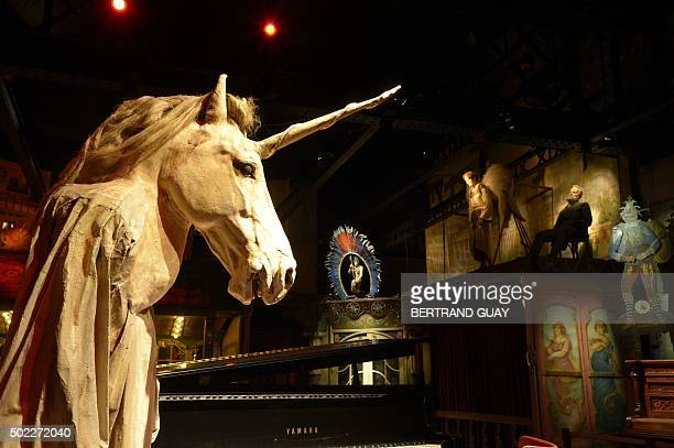 A picture shows a unicorn in the Musee des Arts Forains in the Pavillons de Bercy in Paris on December 21 2015 Since 1996 the Pavillons de Bercy...