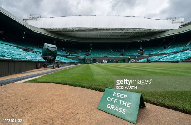 Picture shows a view of Centre Court at the All England Lawn Tennis Club in west London on June 27, 2020 the weekend before the Wimbledon...
