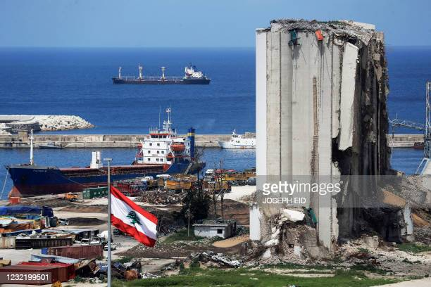 Picture shows a view of the damaged grain silos at the port of the Lebanese capital Beirut, on April 9 still reeling from the destruction due to a...
