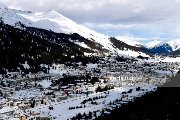 A picture shows a view of the Davos ski resort during the annual World Economic Forum on January 26 2018 in Davos eastern Switzerland / AFP PHOTO /...