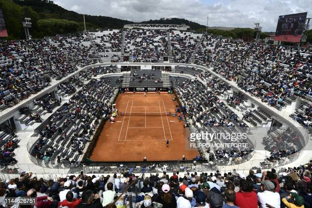 A picture shows a view of the Foro Italico camp in Rome on May 18 2019 during the WTA Masters tournament semi final tennis match beetween Britain's...