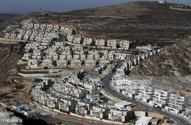 A picture shows a view of the Israeli settlement of Givat Zeev near the Palestinian city of Ramallah in the occupied West Bank on November 19 2019...