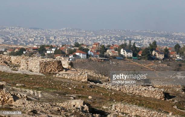 Picture shows a view of the Israeli settlement of Susya, south of Hebron city in the occupied West Bank, on January 12, 2021. - Israel's Prime...