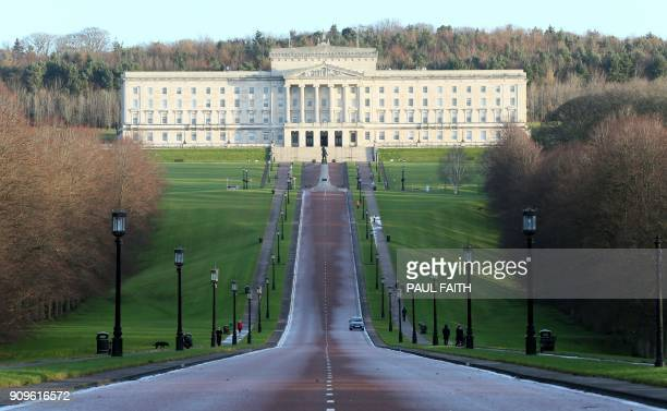 A picture shows a view of the Parliament Buildings on the Stormont Estate the seat of the Northern Ireland assembly in Belfast on January 24 2018...