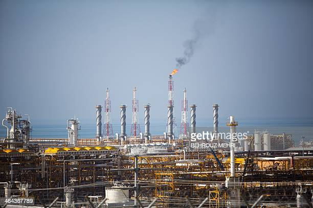 Picture shows a view of the phase 12 of the South Pars gas field facilities near the southern Iranian town of Kangan on the shore of the Gulf on...