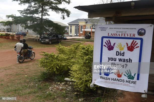 A picture shows a warning and awareness banner for Lassa fever displayed at the Institute of Lassa Fever Research and Control in Irrua Specialist...