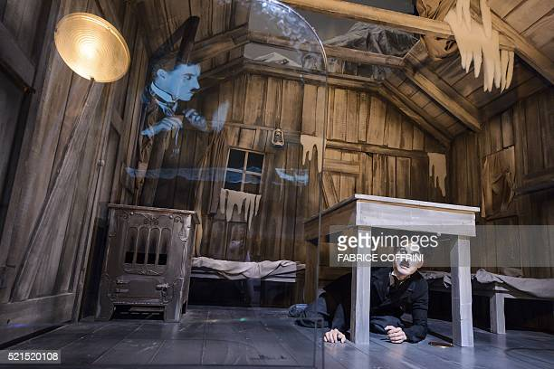A picture shows a wax statue of Charile Chaplin on a replica set of The Gold Rush during a press visit of Chaplin's World Museum in CorsiersurVevey...