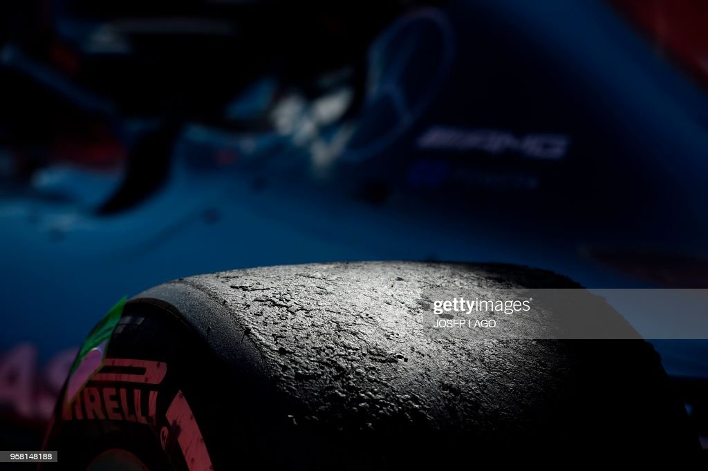 TOPSHOT - Picture shows a wheel of Mercedes' British driver Lewis Hamilton's car after the Spanish Formula One Grand Prix race at the Circuit de Catalunya in Montmelo in the outskirts of Barcelona on May 13, 2018.