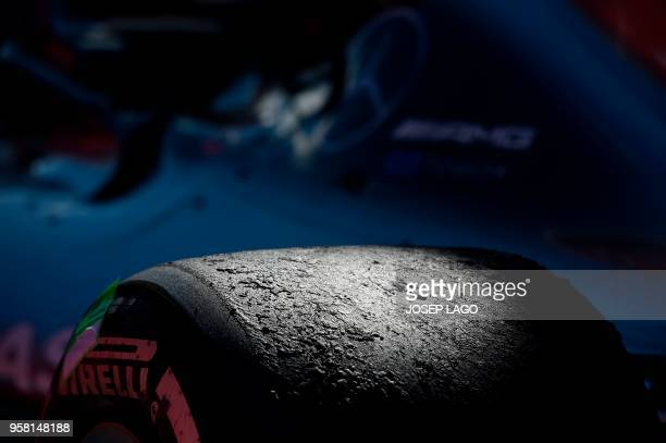TOPSHOT Picture shows a wheel of Mercedes' British driver Lewis Hamilton's car after the Spanish Formula One Grand Prix race at the Circuit de...